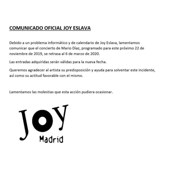 COMUNICADO DE JOY ESLAVA SOBRE EL CAMBIO DE FECHA DEL CONCIERTO DE MARIO DÍAZ EN MADRID